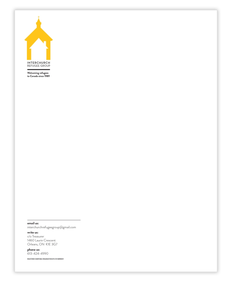 interchurch refugee group letterhead by laura weatherston