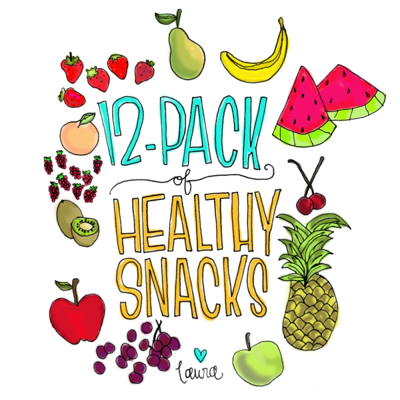 12-pack of healthy snacks illustration by laura weatherston